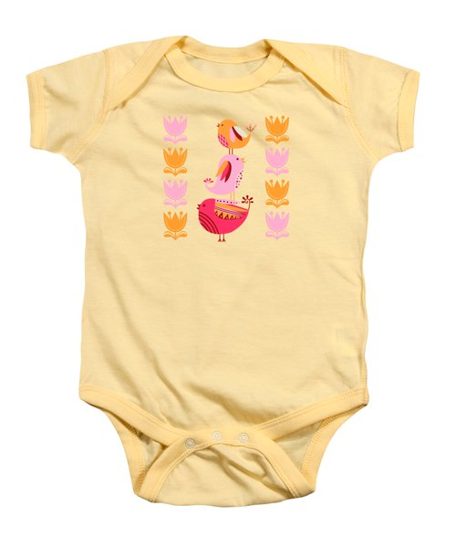 Happy Pink And Orange Birds And Blooms Baby Onesie