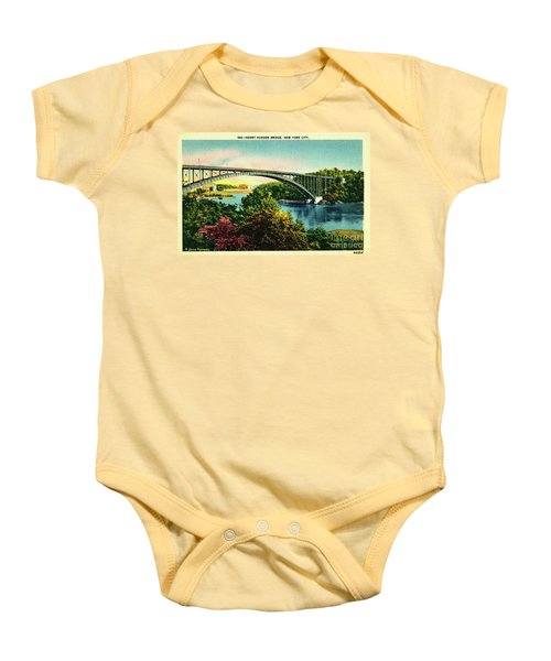Henry Hudson Bridge Postcard Baby Onesie by Cole Thompson