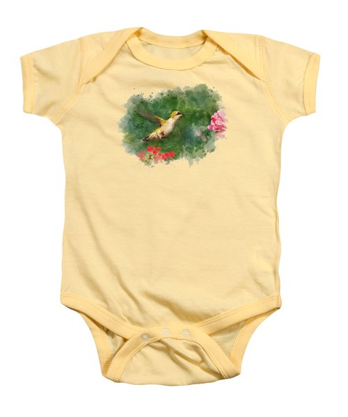 Hummingbird - Watercolor Art Baby Onesie