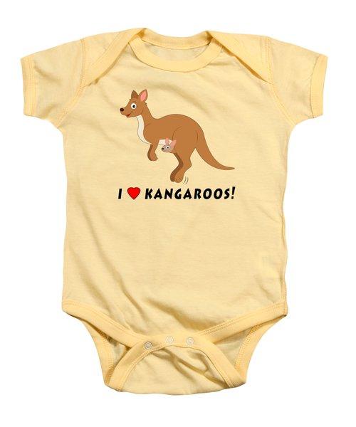 I Love Kangaroos Baby Onesie by A