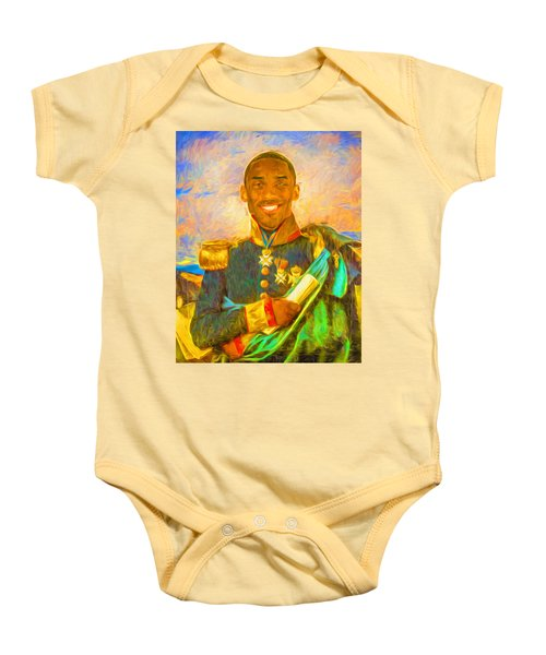 Kobe Bryant Floor General Digital Painting La Lakers Baby Onesie by David Haskett