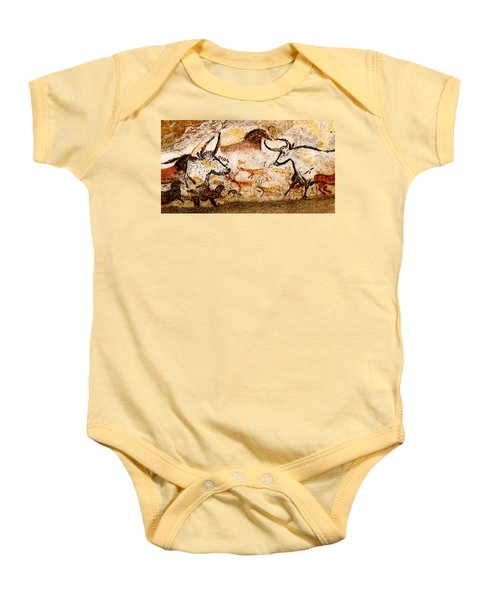 Lascaux Hall Of The Bulls - Deer And Aurochs Baby Onesie