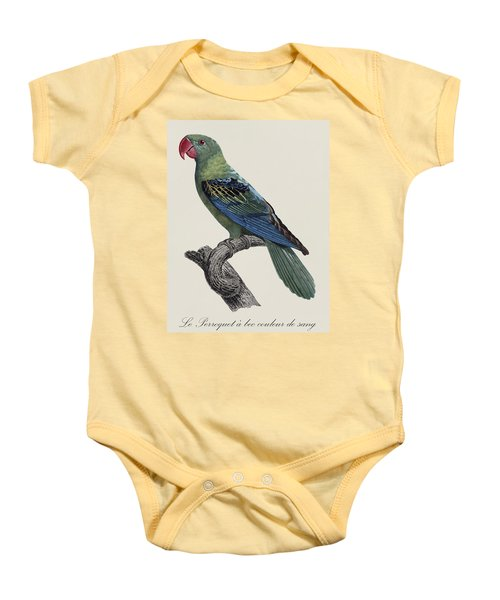 Le Perroquet A Bec Couleur De Sang / Great-billed Parrot - Restored 19thc. Illustration By Barraband Baby Onesie
