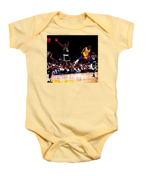 Magic Johnson No Look Pass 7a Baby Onesie by Brian Reaves