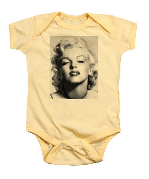 Marilyn Monroe - Bw Hexagons Baby Onesie by Samuel Majcen