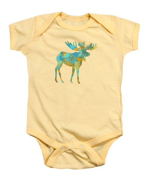 Moose Watercolor Art Baby Onesie by Christina Rollo