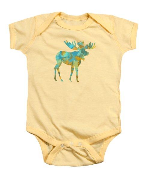 Moose Watercolor Art Baby Onesie by Christina Rollo