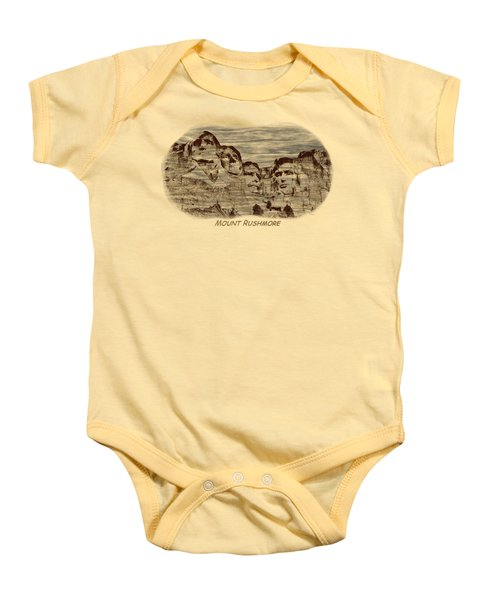 Mount Rushmore Woodburning 2 Baby Onesie