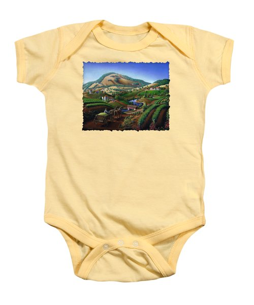 Old Wine Country Landscape - Delivering Grapes To Winery - Vintage Americana Baby Onesie by Walt Curlee