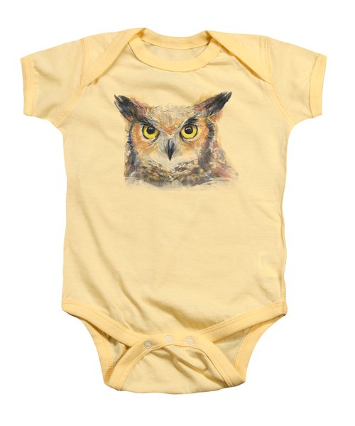 Owl Watercolor Portrait Great Horned Baby Onesie by Olga Shvartsur
