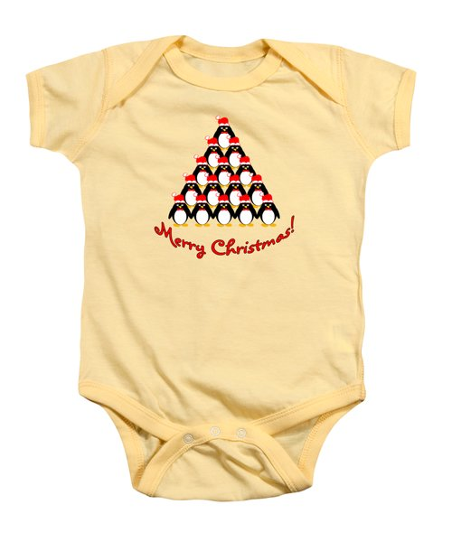 Penguin Christmas Tree Baby Onesie by Methune Hively