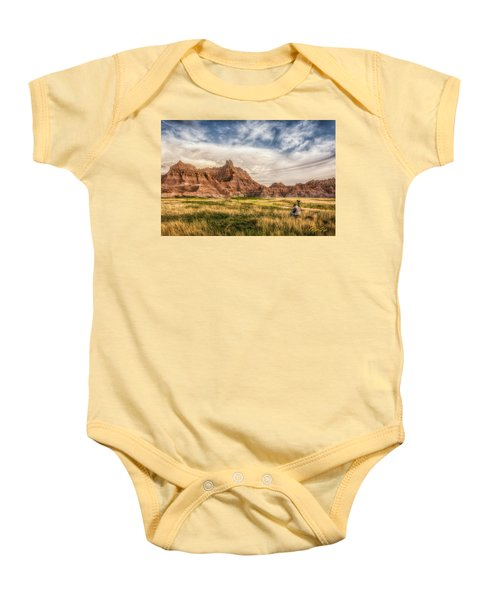 Photographer Waiting For The Badlands Light Baby Onesie
