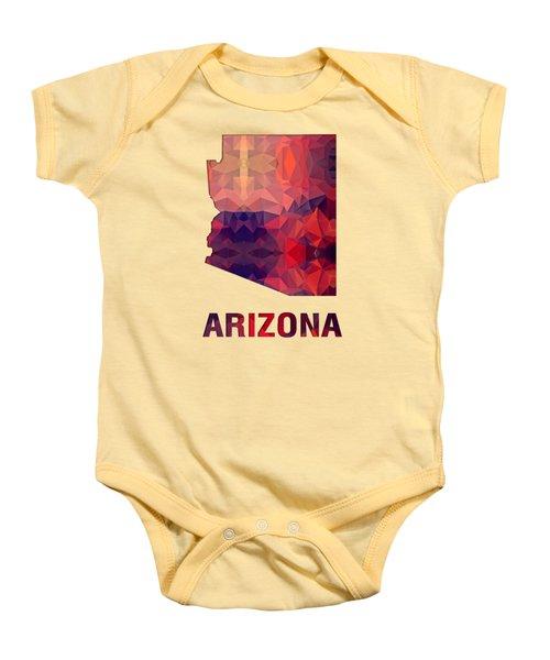 Polygon Mosaic Parchment Map Arizona Baby Onesie
