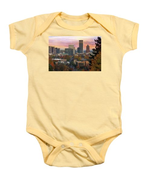 Portland Downtown Cityscape During Sunrise In Fall Baby Onesie