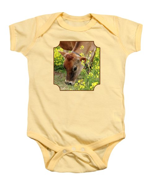 Pretty Jersey Cow - Vertical Baby Onesie by Gill Billington