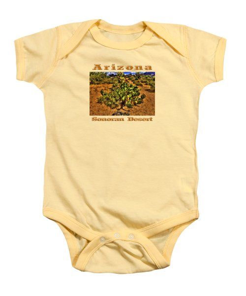 Prickly Pear In Bloom With Brittlebush And Cholla For Company Baby Onesie by Roger Passman