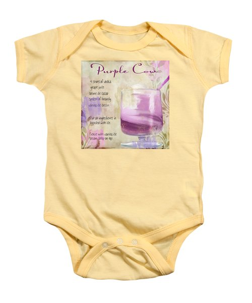 Purple Cow Mixed Cocktail Recipe Sign Baby Onesie