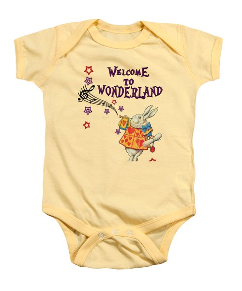 Rabbit Welcome To .. Alice In Wonderland Baby Onesie