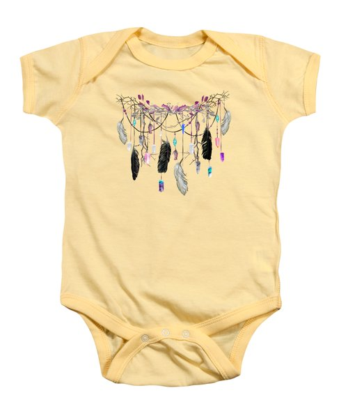 Raven Feathers And Roses Crystal Spirit Gazer Baby Onesie