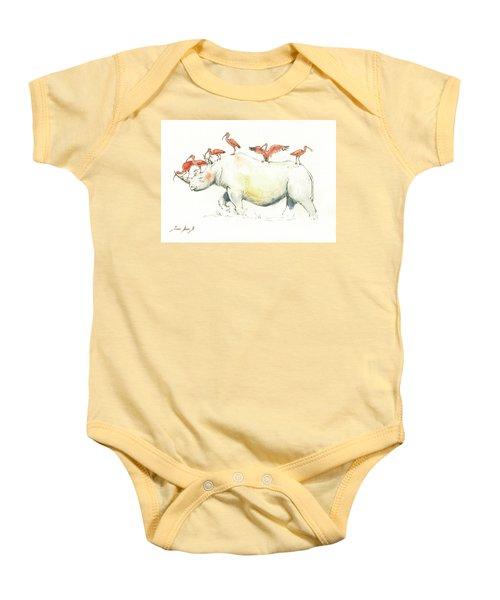 Rhino And Ibis Baby Onesie by Juan Bosco