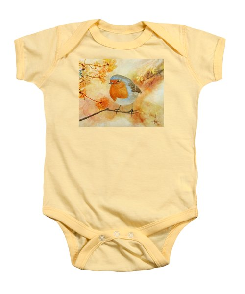 Robin Among Flowers Baby Onesie