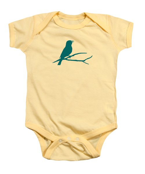 Baby Onesie featuring the mixed media Rustic Green Bird Silhouette by Christina Rollo