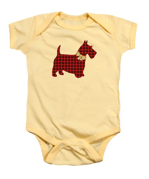 Baby Onesie featuring the mixed media Scottie Dog Plaid by Christina Rollo