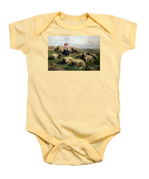 Shepherdess With Sheep In A Landscape Baby Onesie