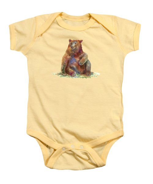 Sitting Bear Baby Onesie by Amy Kirkpatrick