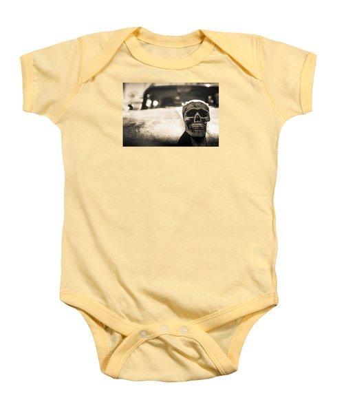 Baby Onesie featuring the photograph Skull Car by Lora Lee Chapman