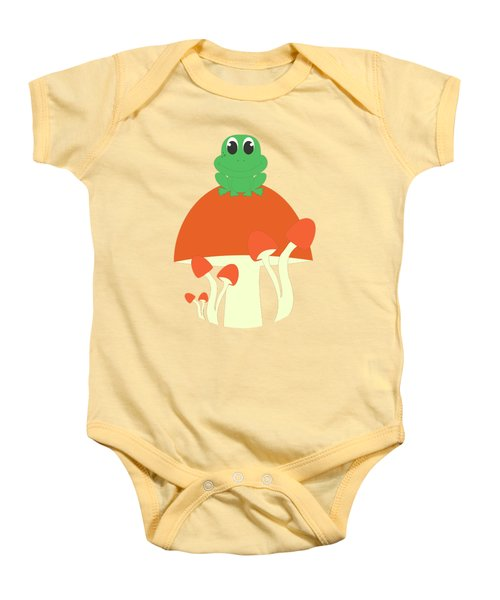 Small Frog Sitting On A Mushroom  Baby Onesie