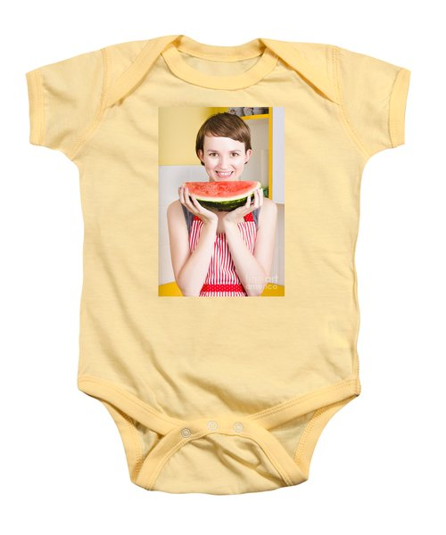 Smiling Young Woman Eating Fresh Fruit Watermelon Baby Onesie by Jorgo Photography - Wall Art Gallery