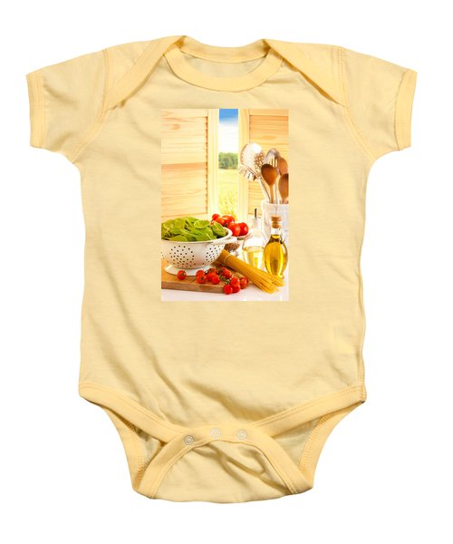 Spaghetti And Tomatoes In Country Kitchen Baby Onesie by Amanda Elwell