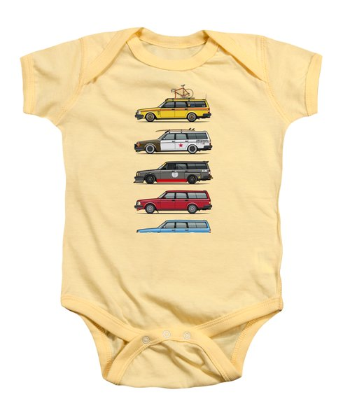 Stack Of Volvo 200 Series 245 Wagons Baby Onesie by Monkey Crisis On Mars