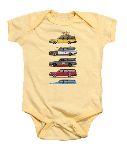 Stack Of Volvo 200 Series 245 Wagons Baby Onesie