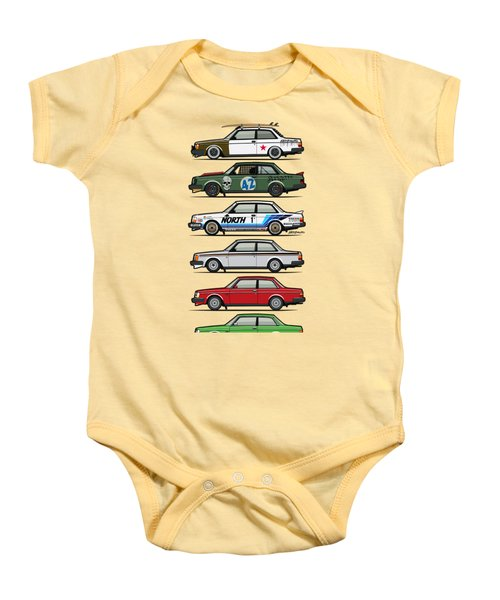 Stack Of Volvo 242 240 Series Brick Coupes Baby Onesie by Monkey Crisis On Mars