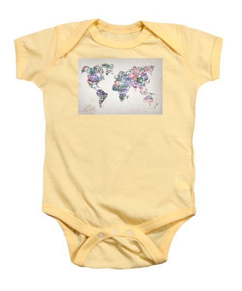 Vintage map of the world baby onesies fine art america stamp art world map baby onesie gumiabroncs Choice Image