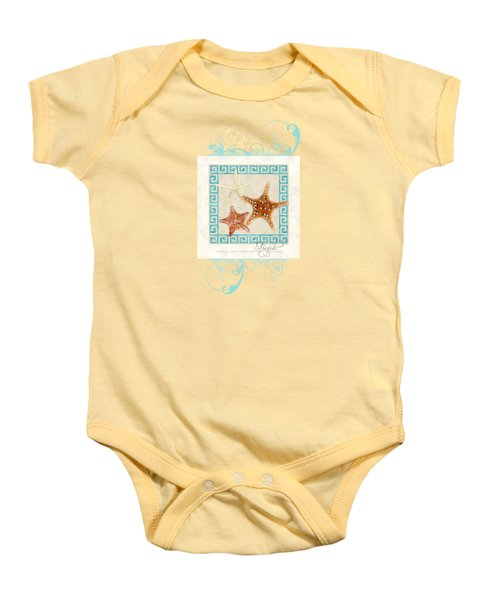 Starfish Greek Key Pattern W Swirls Baby Onesie by Audrey Jeanne Roberts