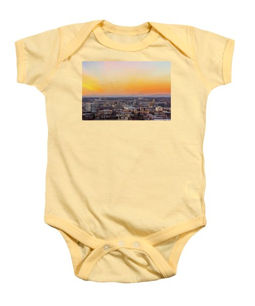 Sunset Over Portland Cityscape And Mt Saint Helens Baby Onesie