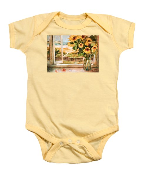 Baby Onesie featuring the painting The Beach Sunflowers by Winsome Gunning