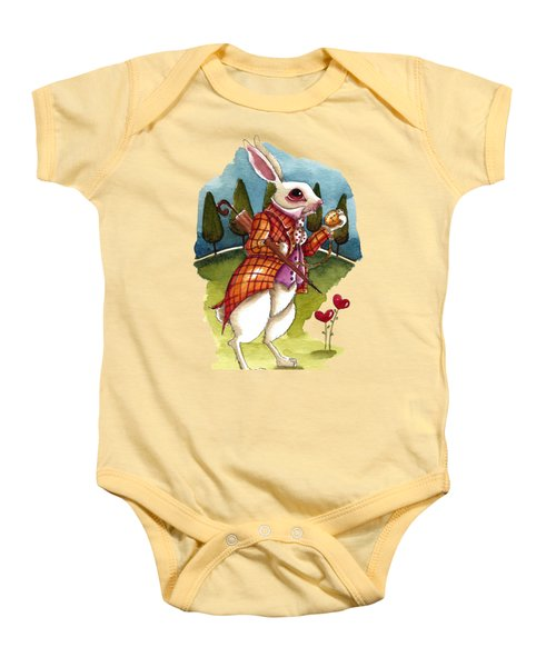 The White Rabbit Is Late Baby Onesie by Lucia Stewart