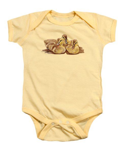 Three Ducklings Baby Onesie by Angeles M Pomata