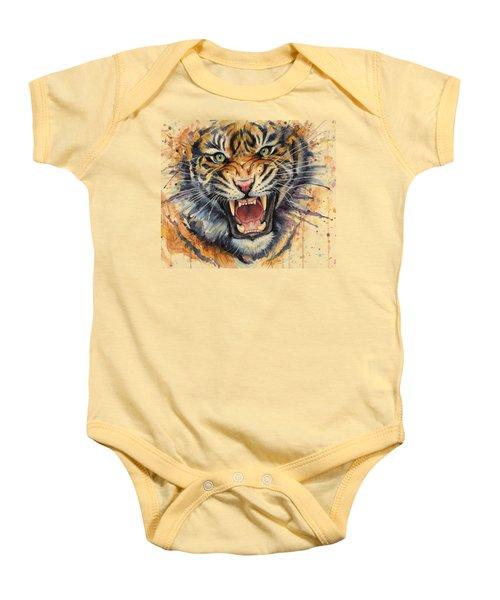 Tiger Watercolor Portrait Baby Onesie by Olga Shvartsur