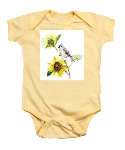 Titmouse With Sunflower Baby Onesie