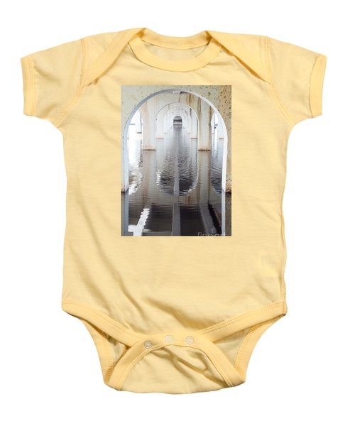 Baby Onesie featuring the photograph Under The Bridge by Linda Lees