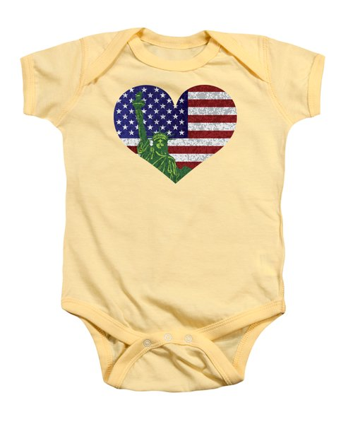 Usa Heart Flag And Statue Of Liberty Baby Onesie by Jit Lim