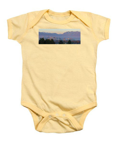 Vancouver Bc Downtown Cityscape At Sunset Panorama Baby Onesie