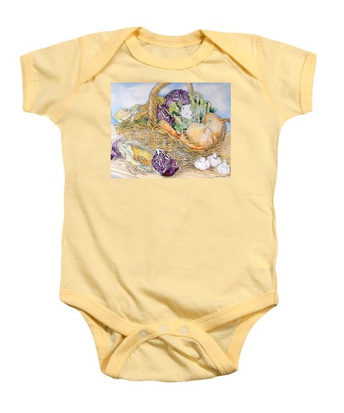 Vegetables In A Basket Baby Onesie by Joan Thewsey