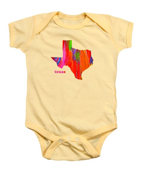 Vibrant Colorful Texas State Map Painting Baby Onesie by Design Turnpike