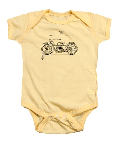 Vintage Harley-davidson Motorcycle 1919 Patent Artwork Baby Onesie by Nikki Smith